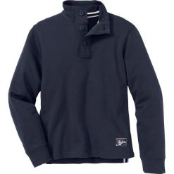 Bluza ze stójką i plisą guzikową Regular Fit bonprix ciemnoniebieski. Niebieskie bluzy męskie bonprix. Za 74.99 zł.