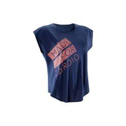 Koszulka fitness kardio krótki rękaw 120 damska. Niebieskie koszulki sportowe damskie DOMYOS. W wyprzedaży za 24.99 zł.