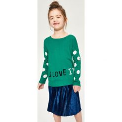 Sweter z żakardowymi rękawami - Zielony. Swetry dla dziewczynek Reserved, z żakardem. W wyprzedaży za 19.99 zł.
