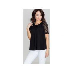 Bluzka K328 Czarny. Czarne bluzki damskie Lenitif, w koronkowe wzory, z koronki, z krótkim rękawem. Za 99.00 zł.