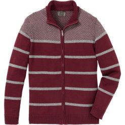 Sweter rozpinany w paski Regular Fit bonprix czerwony rubinowy - szary. Czerwone kardigany męskie bonprix, w paski. Za 109.99 zł.
