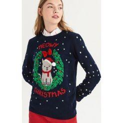 Świąteczny sweter z kokardką - Granatowy. Niebieskie swetry damskie Sinsay, z kokardą. Za 59.99 zł.