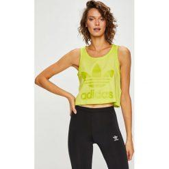 Adidas Originals - Top. Szare topy damskie adidas Originals, z nadrukiem, z bawełny, z okrągłym kołnierzem, bez rękawów. W wyprzedaży za 99.90 zł.
