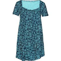 Tunika shirtowa, krótki rękaw bonprix morsko-ciemnoniebieski wzorzysty. Niebieskie tuniki damskie bonprix, z krótkim rękawem. Za 69.99 zł.