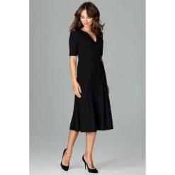 Sukienka koktajlowa za kolano k478. Czarne sukienki damskie Global, biznesowe, dekolt w kształcie v. Za 169.00 zł.