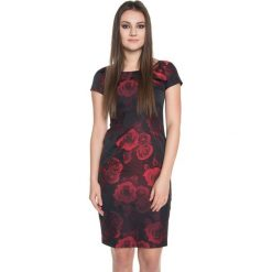 Elegancka sukienka we wzory BIALCON. Brązowe sukienki damskie BIALCON, eleganckie. W wyprzedaży za 170.00 zł.