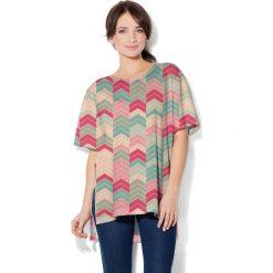 Colour Pleasure Koszulka CP-033  101  miętowo-beżowo-różowa r. uniwersalny. T-shirty damskie Colour Pleasure. Za 76.57 zł.