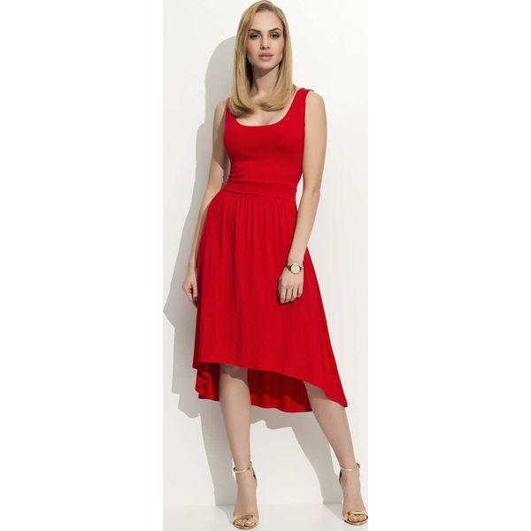 f151de3b4d Czerwona Sukienka Asymetryczna na Szerokich Ramiączkach - Sukienki ...