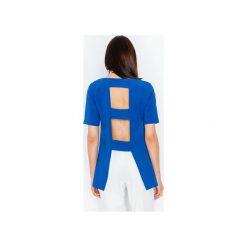 Bluzka M440 Niebieski. Niebieskie bluzki damskie Figl, z kwadratowym dekoltem, z krótkim rękawem. Za 129.00 zł.