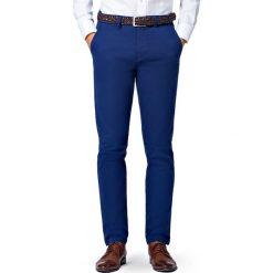Spodnie Navy Chino Mono II. Niebieskie eleganckie spodnie męskie LANCERTO, z bawełny. Za 299.90 zł.