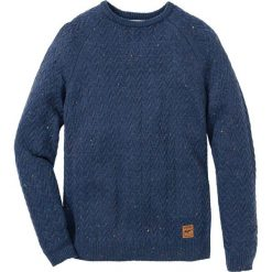 Sweter z okrągłym dekoltem w warkocze Regular Fit bonprix ciemnoniebieski melanż. Niebieskie swetry przez głowę męskie bonprix, melanż, z okrągłym kołnierzem. Za 109.99 zł.