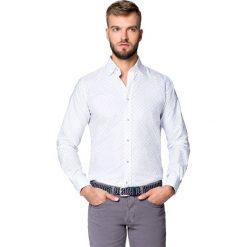 Koszula Biała Mikrowzór Libra. Białe koszule męskie LANCERTO, z haftami, z bawełny, z klasycznym kołnierzykiem. Za 299.90 zł.
