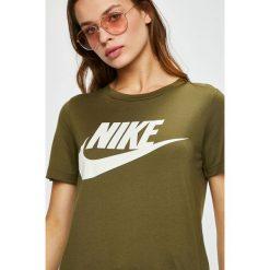 Nike Sportswear - Top. Brązowe topy damskie Nike Sportswear, z nadrukiem, z dzianiny, z okrągłym kołnierzem, z krótkim rękawem. Za 139.90 zł.
