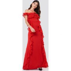 Trendyol Sukienka maxi z falbankami - Red. Sukienki damskie Trendyol, z falbankami. W wyprzedaży za 141.98 zł.