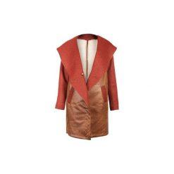 Miedziany płaszcz ze skóry ekologicznej. Brązowe płaszcze damskie Diamond dust, ze skóry ekologicznej. Za 1,000.00 zł.