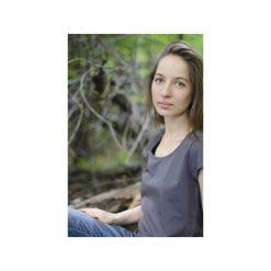 T-shirt grafit/ z organicznej bawełny. Szare t-shirty damskie Siss, z bawełny, z klasycznym kołnierzykiem. Za 150.00 zł.