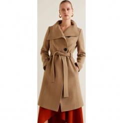 Mango - Płaszcz Venus2. Brązowe płaszcze damskie Mango, w paski, z materiału. Za 549.90 zł.