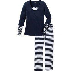 Piżama bonprix ciemnoniebiesko-biały w paski. Niebieskie piżamy damskie bonprix, w paski. Za 79.99 zł.