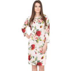 Różowa sukienka w kwiaty BIALCON. Czerwone sukienki damskie BIALCON, w kwiaty, wizytowe. W wyprzedaży za 168.00 zł.
