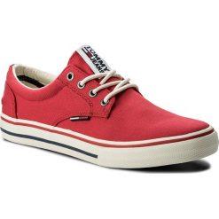 Tenisówki TOMMY JEANS - Textile Sneaker EM0EM00001 Tango Red 611. Czerwone trampki męskie Tommy Jeans, z gumy. W wyprzedaży za 199.00 zł.