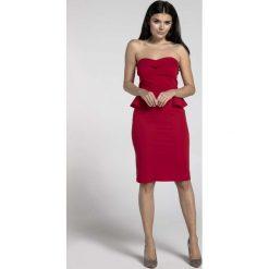 Czerwona Koktajlowa Sukienka Gorsetowa z Półbaskinką. Czerwone sukienki damskie Molly.pl, eleganckie, z gorsetem. W wyprzedaży za 106.86 zł.