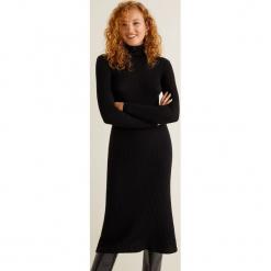 Mango - Sukienka Largi. Czarne sukienki damskie Mango, z bawełny, casualowe, z golfem, z długim rękawem. Za 139.90 zł.