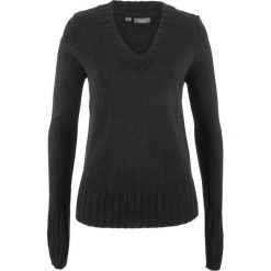 Sweter z dekoltem w serek bonprix czarny. Czarne swetry damskie bonprix, z materiału, z dekoltem w serek. Za 44.99 zł.