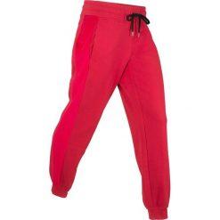 Spodnie dresowe z aksamitnymi wstawkami, długie, Level 1 bonprix ciemnoczerwony. Spodnie dresowe damskie marki WED'ZE. Za 59.99 zł.