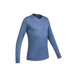 Koszulka turystyczna długi rękaw TRAVEL 500 wełna męska. Niebieskie bluzki z długim rękawem męskie FORCLAZ, z wełny. Za 79.99 zł.