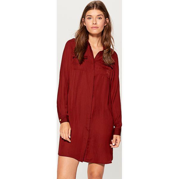 dd53364192 Koszulowa sukienka z kieszeniami - Bordowy - Sukienki damskie marki ...