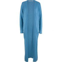 Długi płaszcz dzianinowy, długi rękaw bonprix niebieski kryształowy. Niebieskie płaszcze damskie bonprix, z dzianiny. Za 119.99 zł.