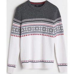 Sweter z domieszką wełny - Biały. Białe swetry przez głowę męskie Reserved, z wełny. Za 139.99 zł.