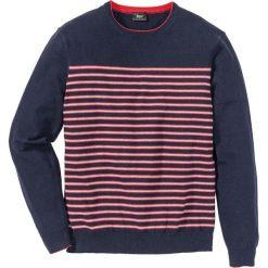 Sweter w paski Regular Fit bonprix ciemnoniebieski w paski. Swetry przez głowę męskie marki Giacomo Conti. Za 32.99 zł.