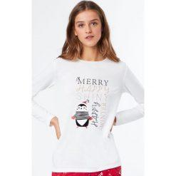 Etam - Bluzka piżamowa Angel. Piżamy damskie Etam, z nadrukiem, z bawełny. W wyprzedaży za 49.90 zł.