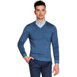 Sweter MARTINO SWNS000096. Niebieskie swetry przez głowę męskie Giacomo Conti, na lato, z wełny, dekolt w kształcie v. Za 229.00 zł.