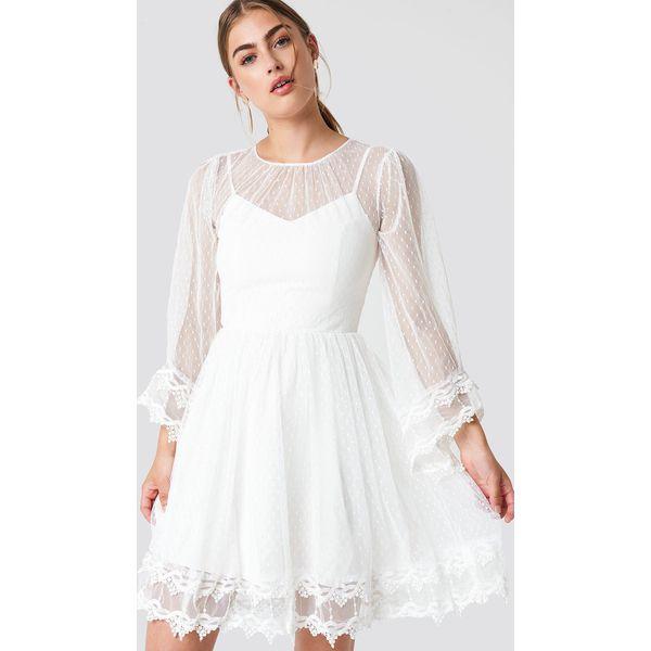 103f3e73e0e5a5 Trendyol Koronkowa sukienka z szerokim rękawem - White - Sukienki ...