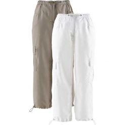 Spodnie 7/8 (2 pary) bonprix brunatny + biały. Spodnie materiałowe damskie marki DOMYOS. Za 119.98 zł.
