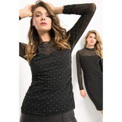 Koszulka w błyszczące groszki. Czarne bluzki damskie Orsay, w grochy, z elastanu, z długim rękawem. Za 79.99 zł.