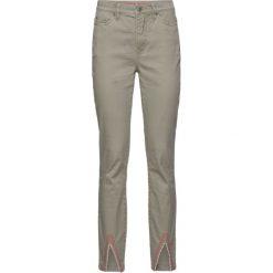 Spodnie twillowe z haftem bonprix khaki-koralowy. Szare spodnie materiałowe damskie bonprix, z haftami. Za 44.99 zł.