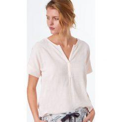Etam - Bluzka piżamowa Ronda. Szare koszule nocne damskie Etam, z bawełny, z krótkim rękawem. W wyprzedaży za 59.90 zł.