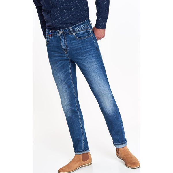 Spodnie męskie denimowe slim z lekkim opraniem