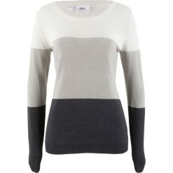Sweter bonprix biel wełny w paski. Białe swetry damskie bonprix, z wełny. Za 69.99 zł.
