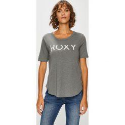 Roxy - Top. Szare topy damskie Roxy, z nadrukiem, z bawełny, z okrągłym kołnierzem, z krótkim rękawem. W wyprzedaży za 79.90 zł.