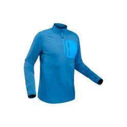 Koszulka turystyczna długi rękaw SH500 warm męska. Niebieskie bluzki z długim rękawem męskie QUECHUA, z tkaniny. Za 79.99 zł.