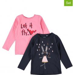Koszulki (2 szt.) w kolorze granatowym i różowym. Czerwone bluzki dla dziewczynek Name it Kids, z bawełny, z okrągłym kołnierzem, z długim rękawem. W wyprzedaży za 42.95 zł.