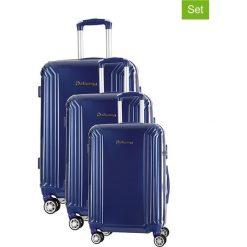 Zestaw walizek w kolorze niebieskim - 3 szt. Walizki męskie Platinium, z materiału. W wyprzedaży za 689.95 zł.