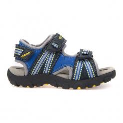 Geox Sandały Chłopięce Strada 35 Niebieski. Niebieskie sandały chłopięce Geox, z materiału. W wyprzedaży za 149.00 zł.