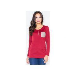 Bluzka M156 Bordo. Czerwone bluzki damskie Figl, ze skóry, z okrągłym kołnierzem, z długim rękawem. Za 79.00 zł.
