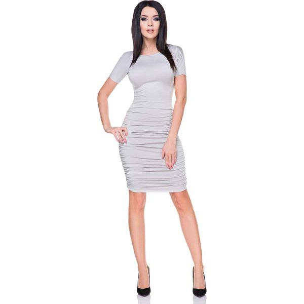012478ddd1 Jasno Szara Sukienka Bodycon Drapowana na Bokach - Sukienki damskie ...