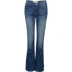 Dżinsy dresowe ocieplane BOOTCUT bonprix niebieski. Niebieskie jeansy damskie bonprix. Za 149.99 zł.